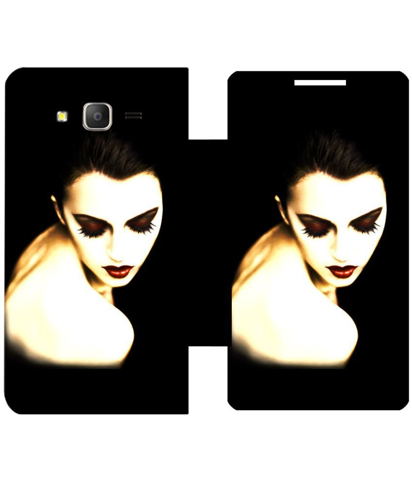 Samsung Galaxy On7 Pro Flip Cover by Skintice - Black