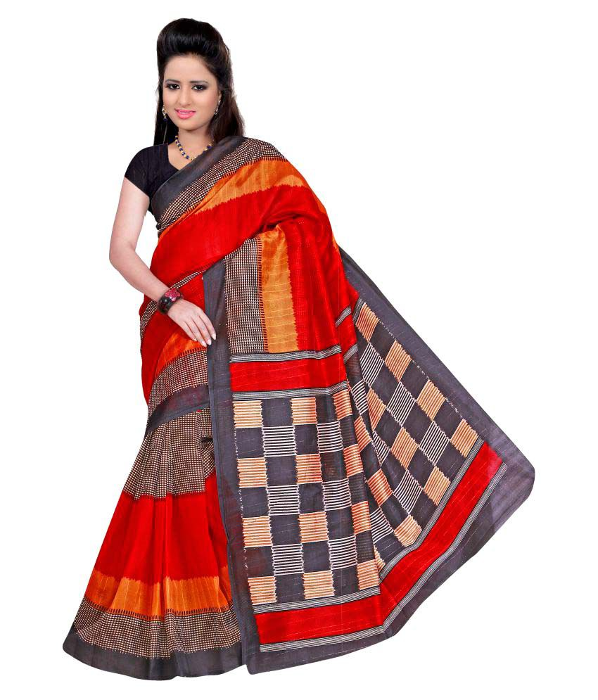 Winza Designer Red and Grey Bhagalpuri Cotton Saree