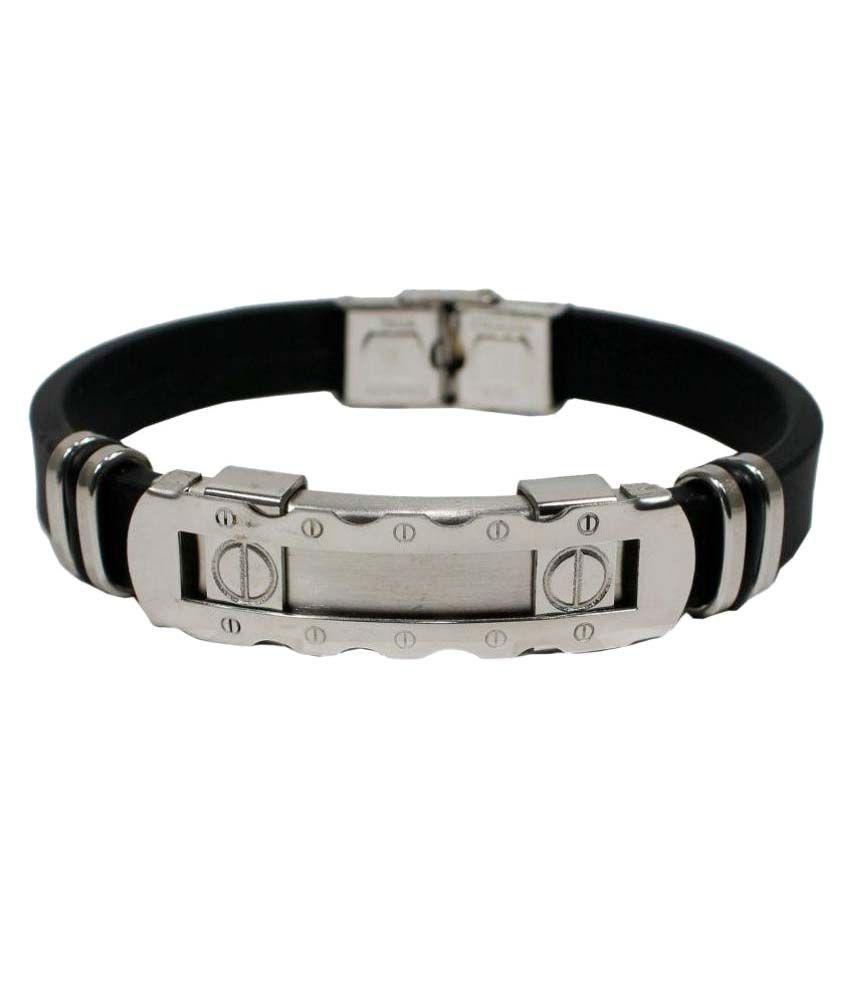 Saheli Art Jewellery Black Rubber Bracelet