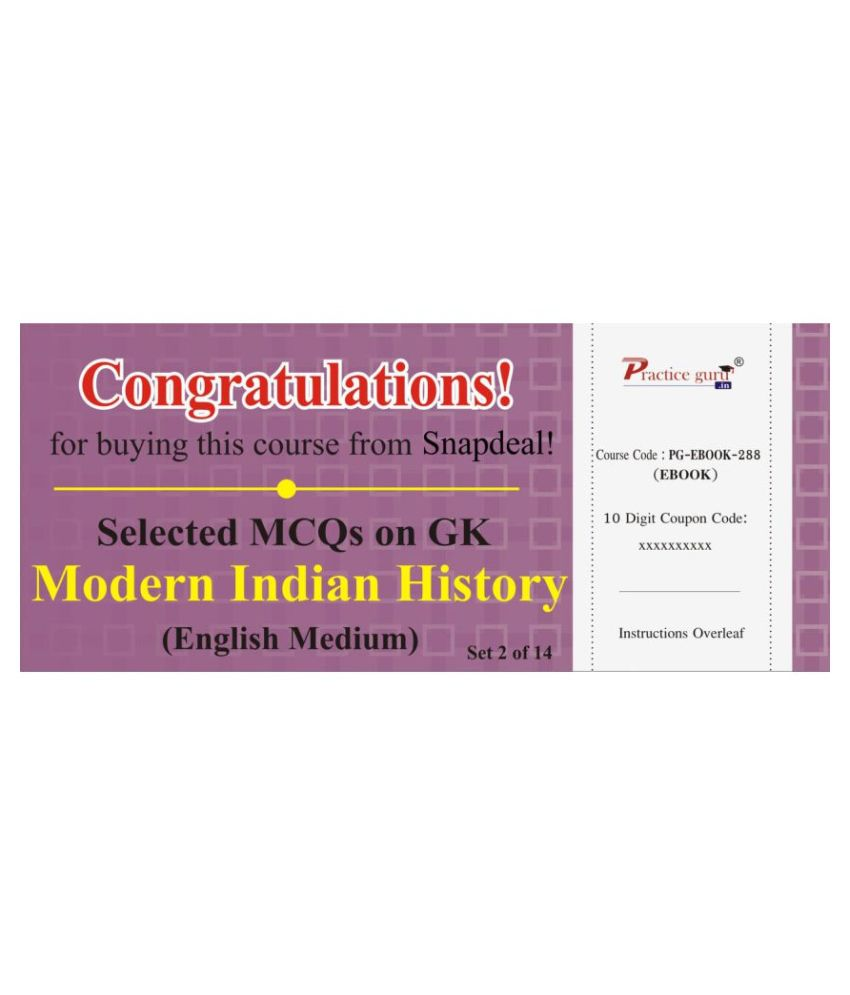 Selected MCQs on GK - Modern Indian History Set 2 of 14 License/Redemption Code - Online