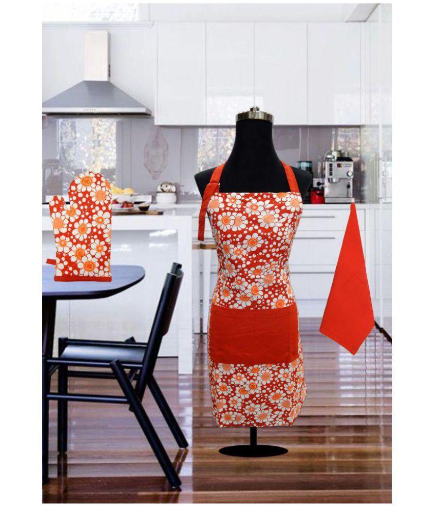 Urban-Trendz Set of 3 Cotton Apron Mitten & Kitchen Towel