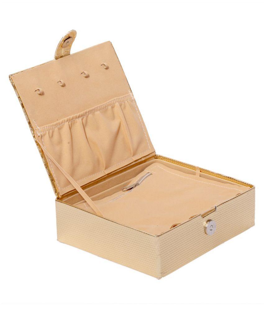 Kuber Industries Jewellery Box, Make Up Box, Cosmetic Box in Coated Hard Board (Golden)