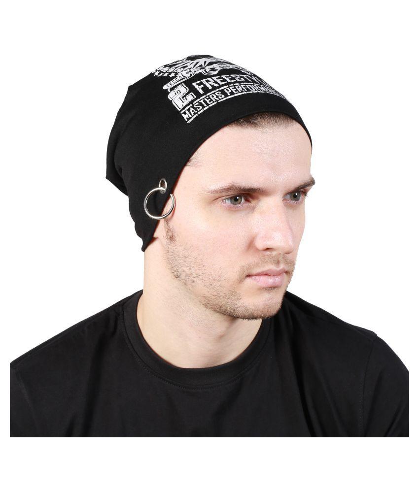 Noise Black Printed Cotton Caps