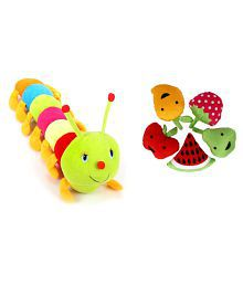 Deals India Multicolour Caterpillar Soft Toy And 5 Soft Toy Fruits