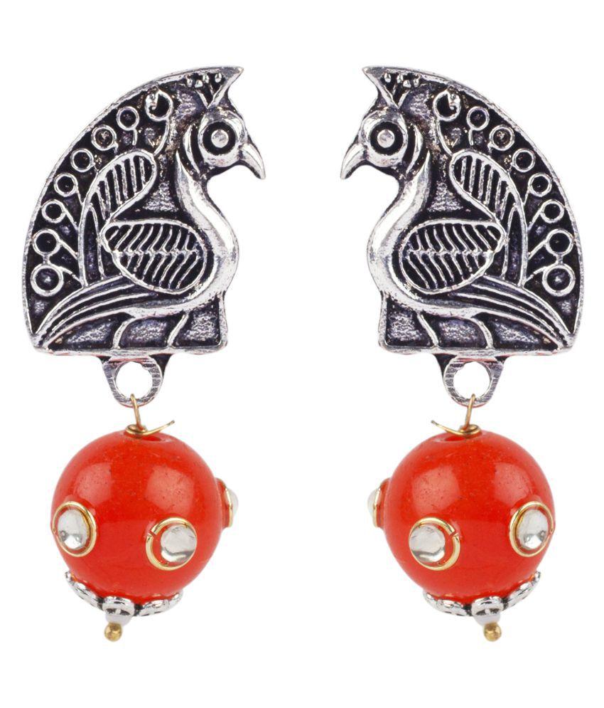 Makezak Orange Drop Earrings