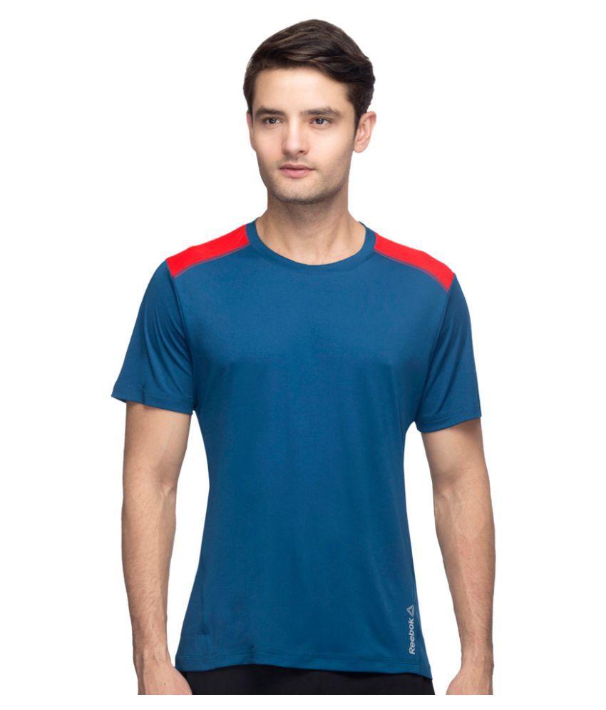 Reebok Blue Polyester T Shirt