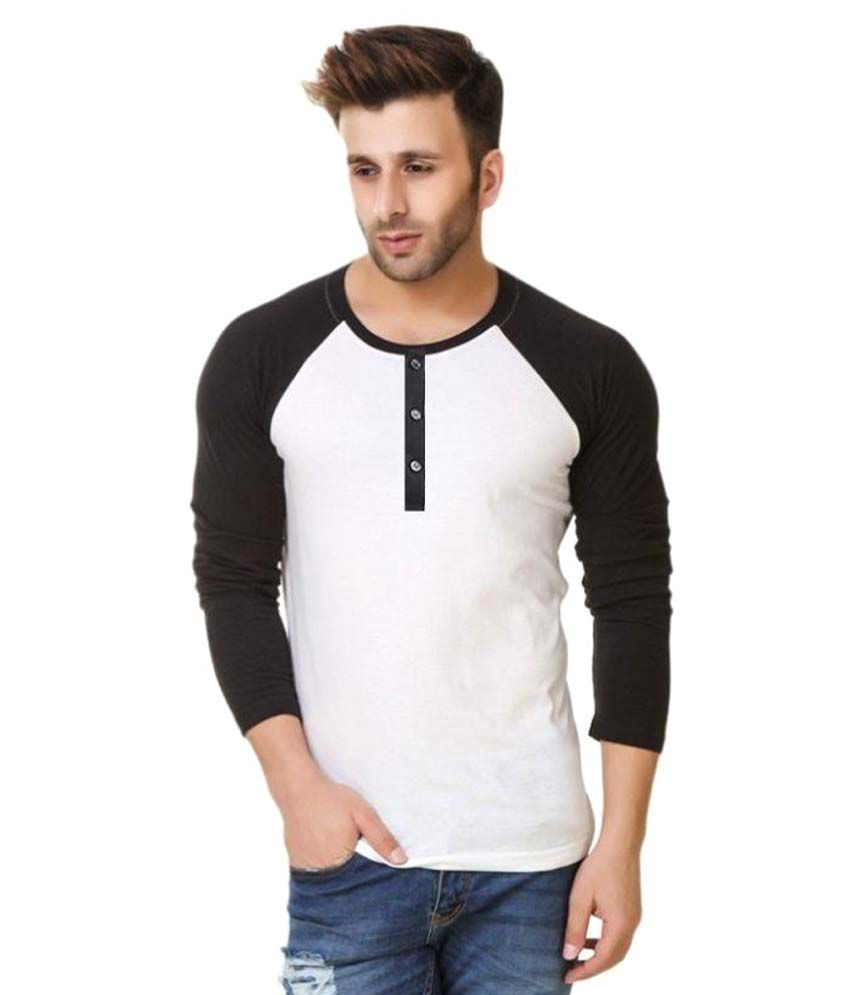 Urbano Fashion White Henley T-Shirt