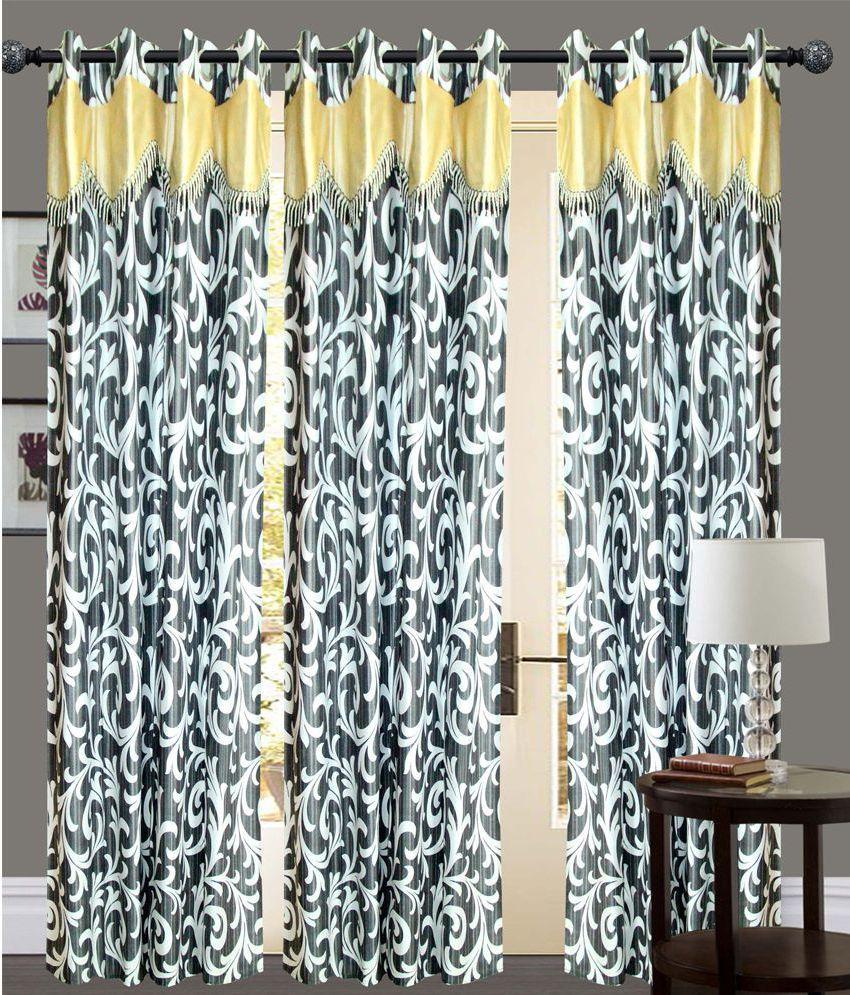New Ladies Zone Set of 3 Door Eyelet Curtains Printed Black