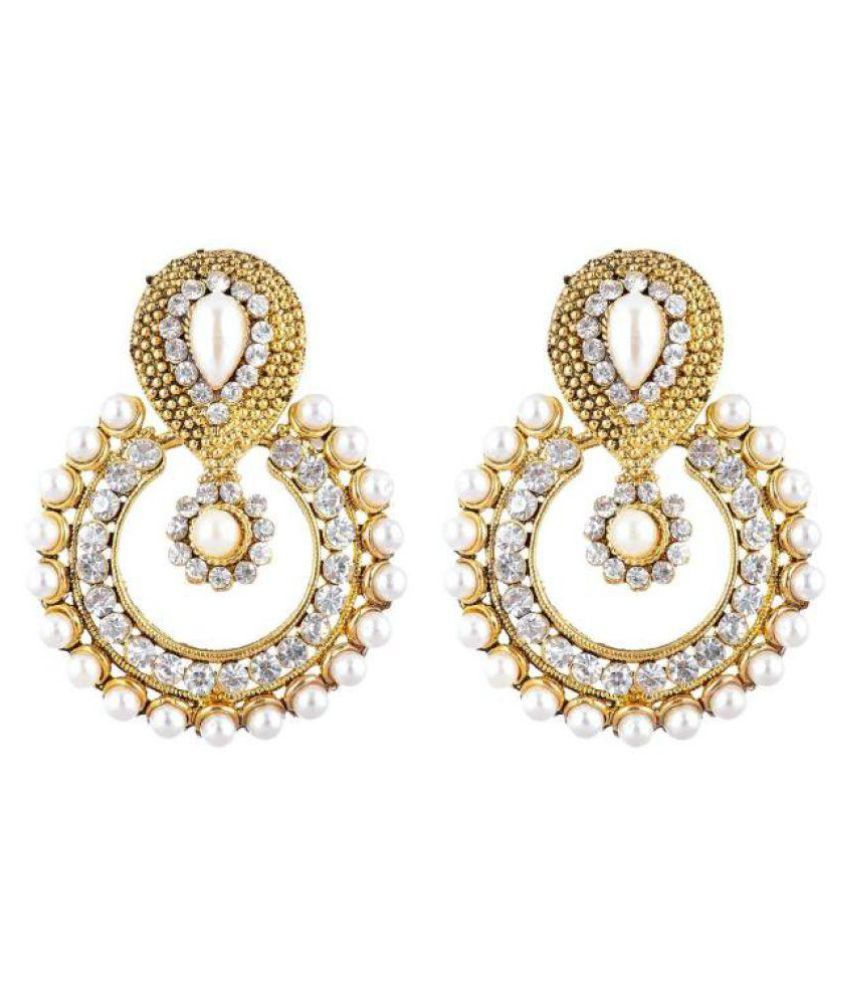 Penny Jewels Golden Alloy Chandeliers Earrings