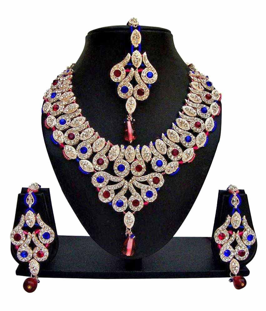 Jewels Capital Multicolor Alloy Necklace Sets with Maangtika