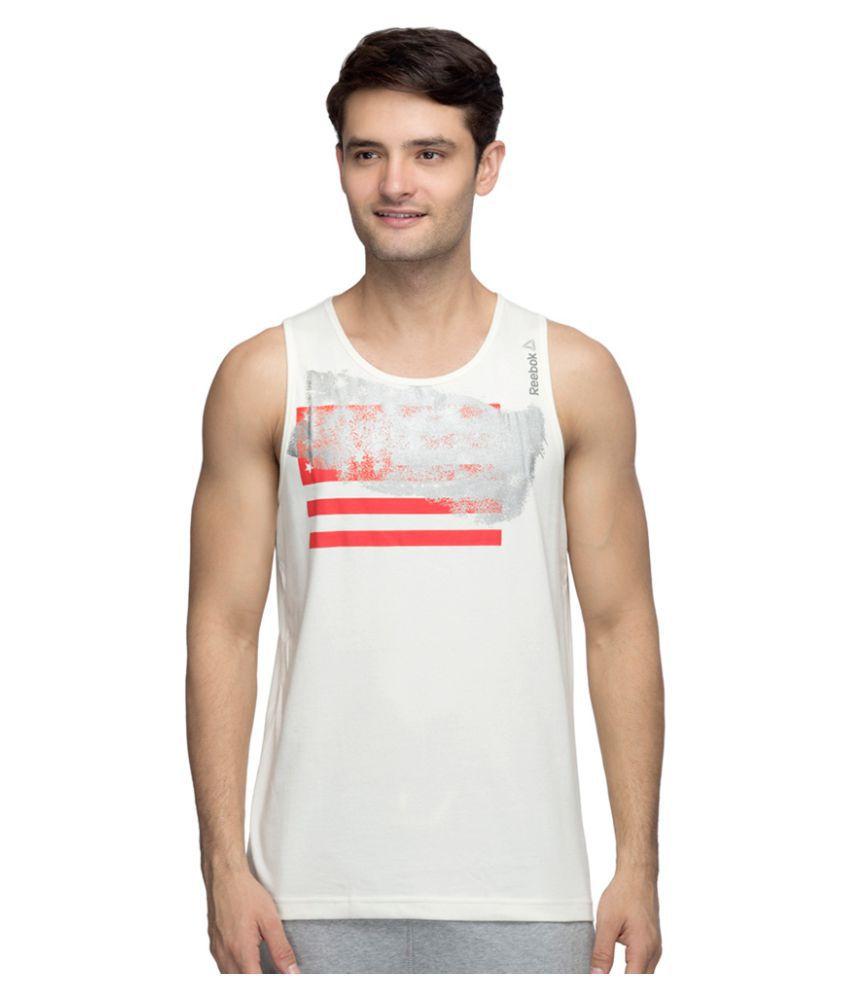 Reebok Off-White Cotton Blend T Shirt