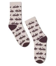 Happily Unmarried Beige Casual Full Length Socks