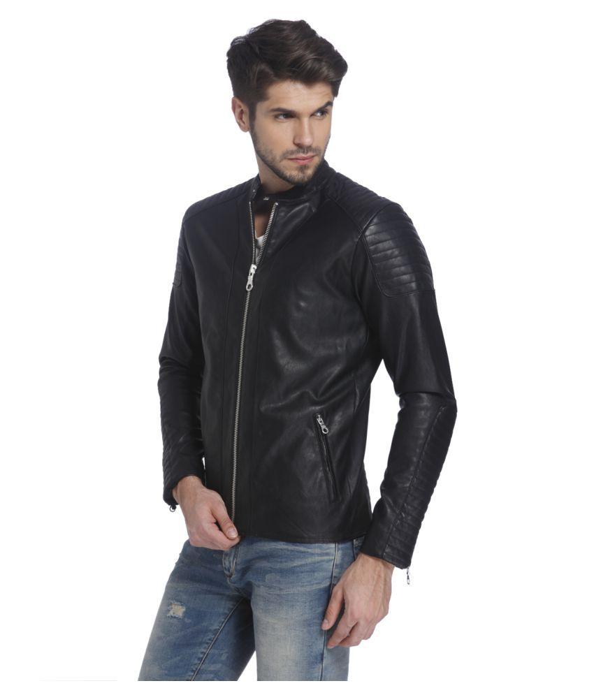 check out 03585 d1dce Jack & Jones Black Leather Jacket