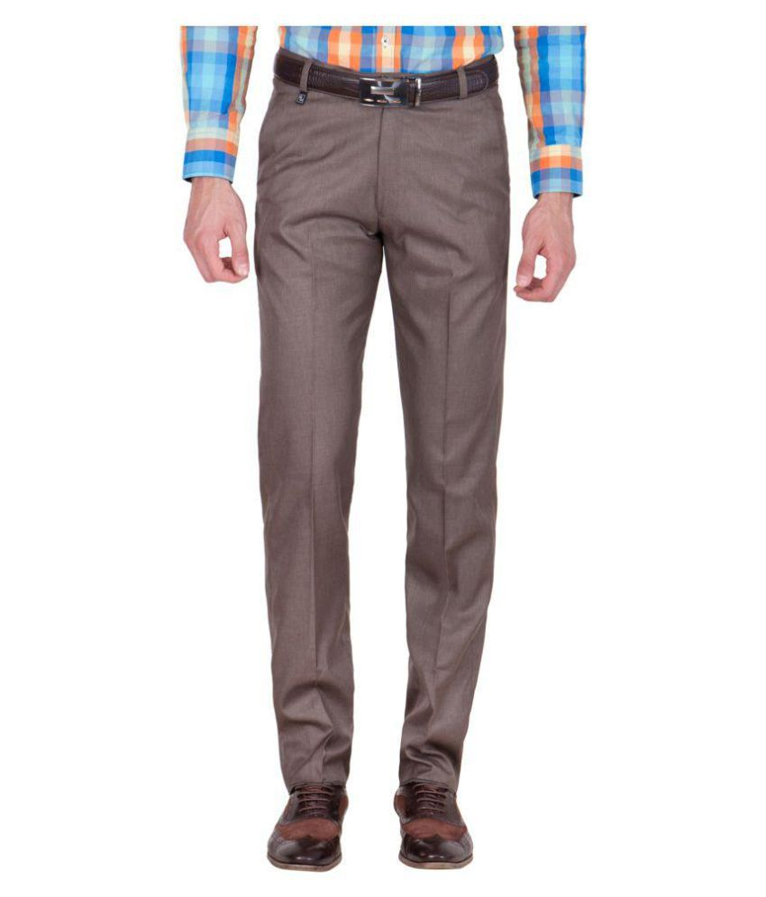 American-Elm Brown Slim Flat Trousers