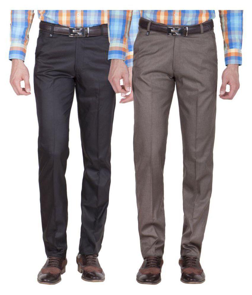 American-Elm Multi Slim Flat Trousers