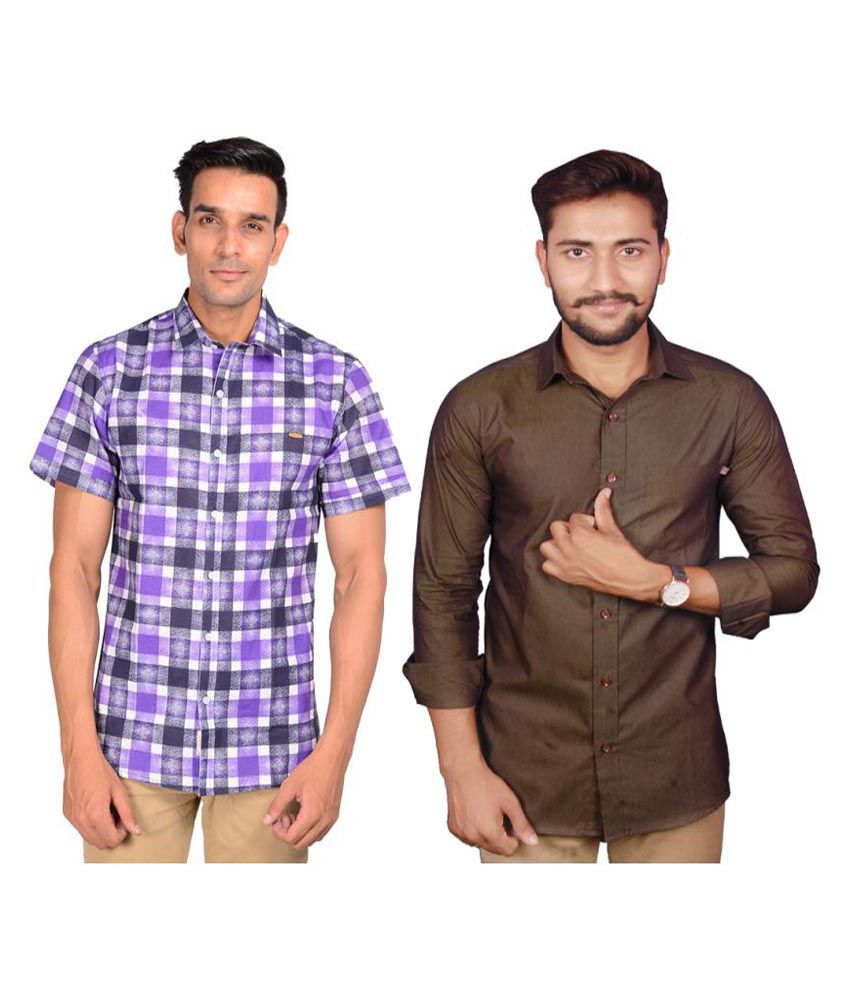 Riwas Collection Multi Casuals Regular Fit Shirt Pack of 2