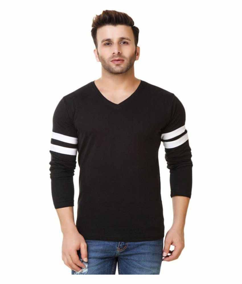 Indian Style Black V-Neck T-Shirt