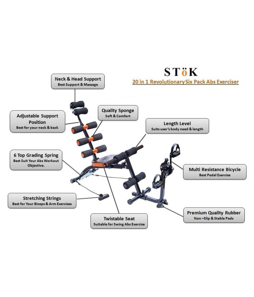 stok six pack abs exerciser/ab tonerwith cycle: buy online at best
