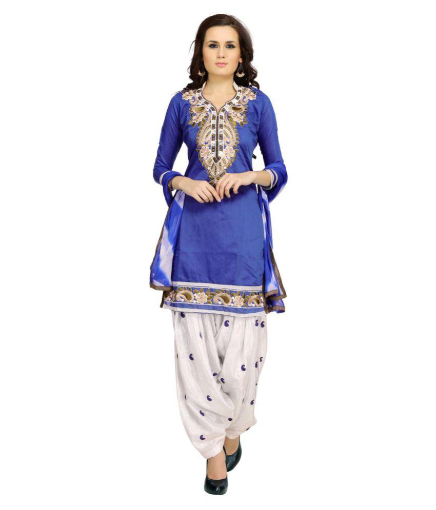 Zory Blue Chanderi Dress Material