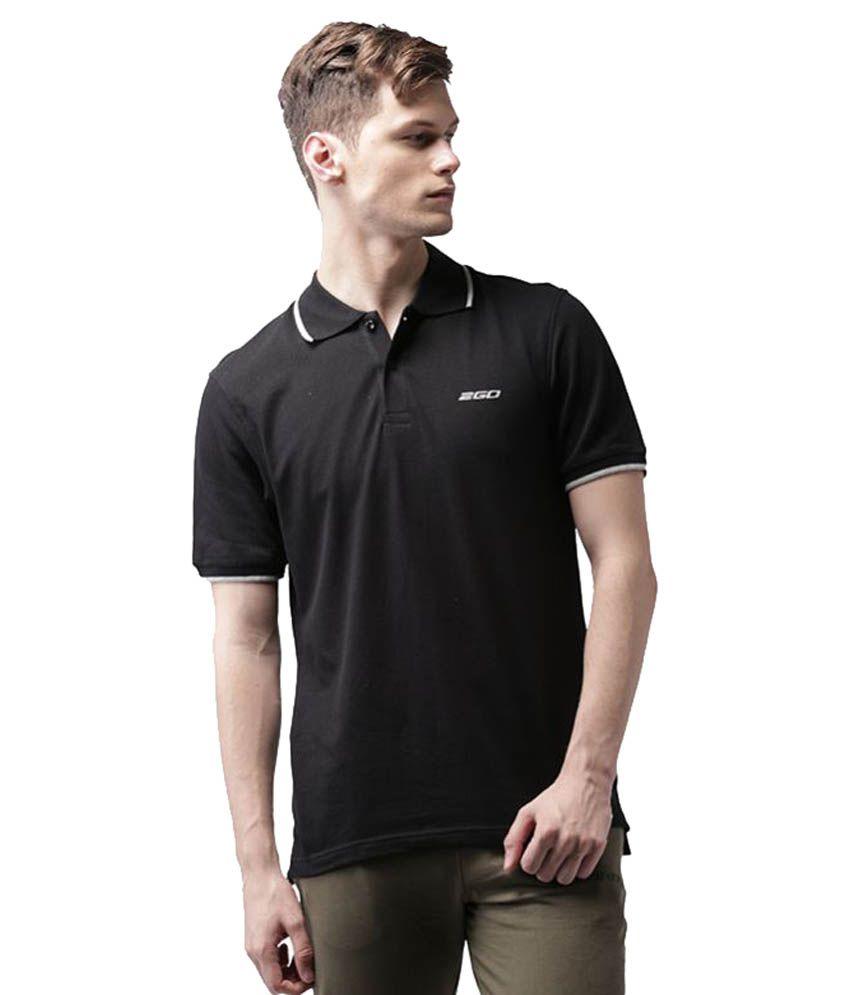 2Go Black Cotton Polo T-shirt