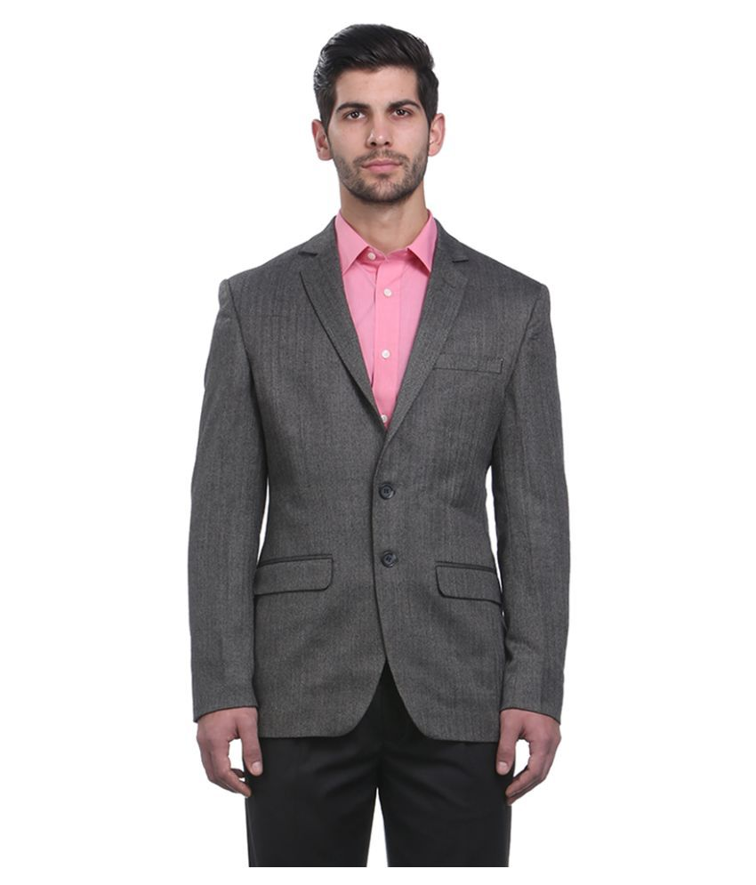 Park Avenue Grey Solid Formal Blazers