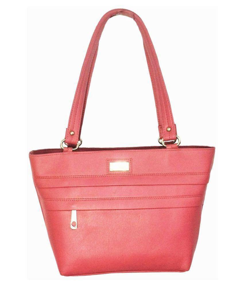Splice Pink P.U. Tote Bag