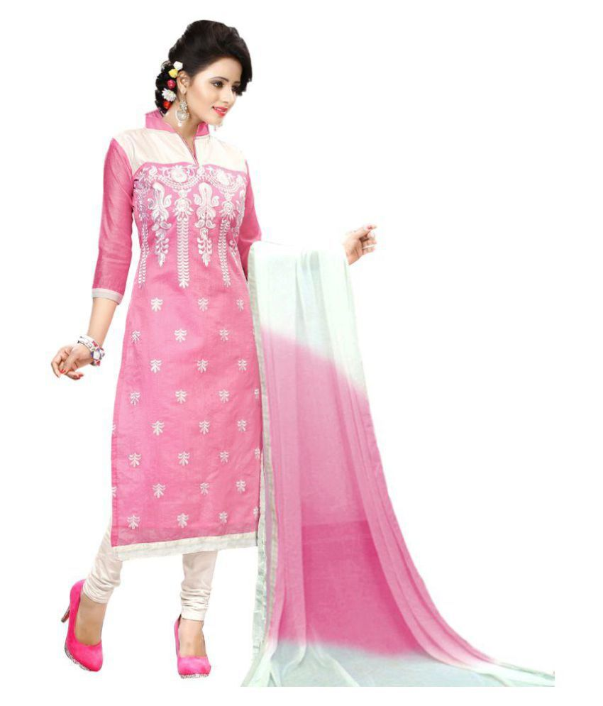 Zombom White and Pink Chanderi Dress Material - Buy Zombom White and Pink  Chanderi Dress Material Online at Best Prices in India on Snapdeal 9a9245e6e