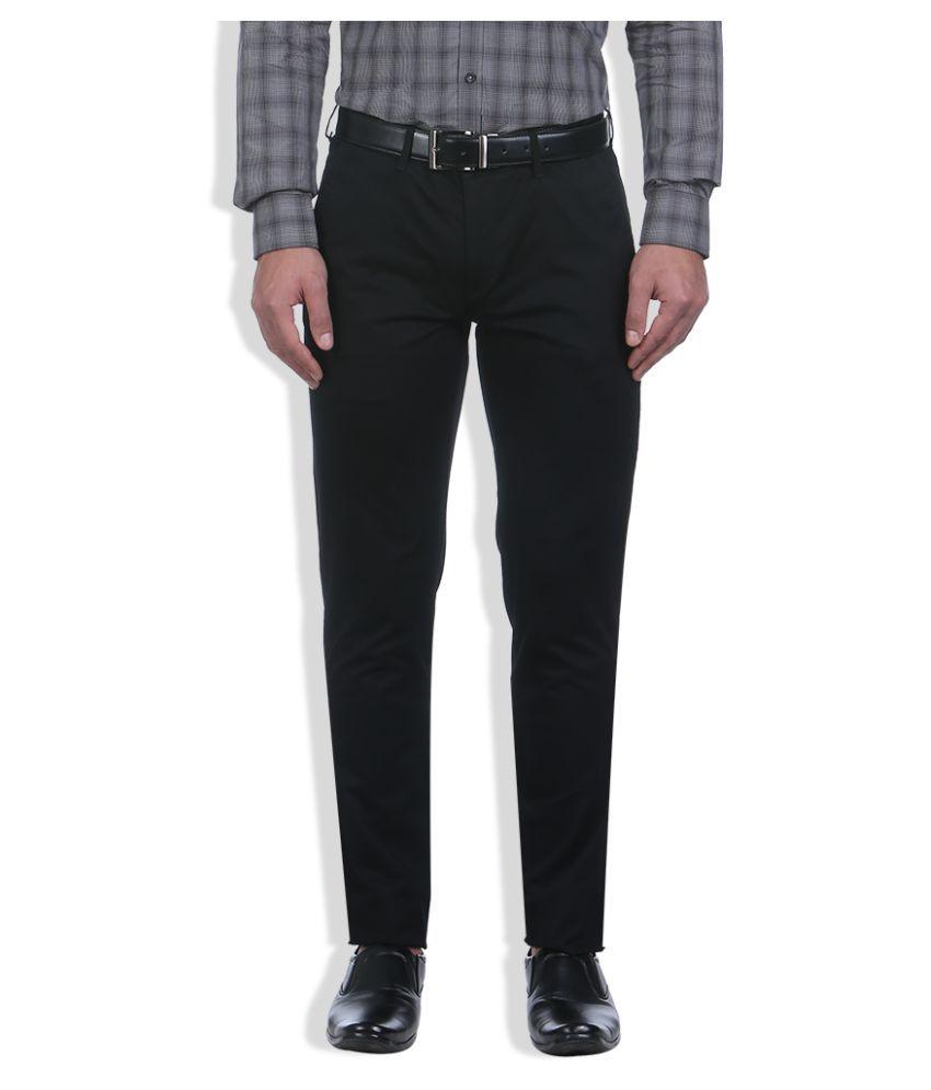 Colorplus Black Regular Flat Trousers