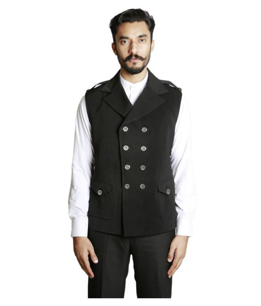 Fusion & Threads Black Plain Casual Jackets