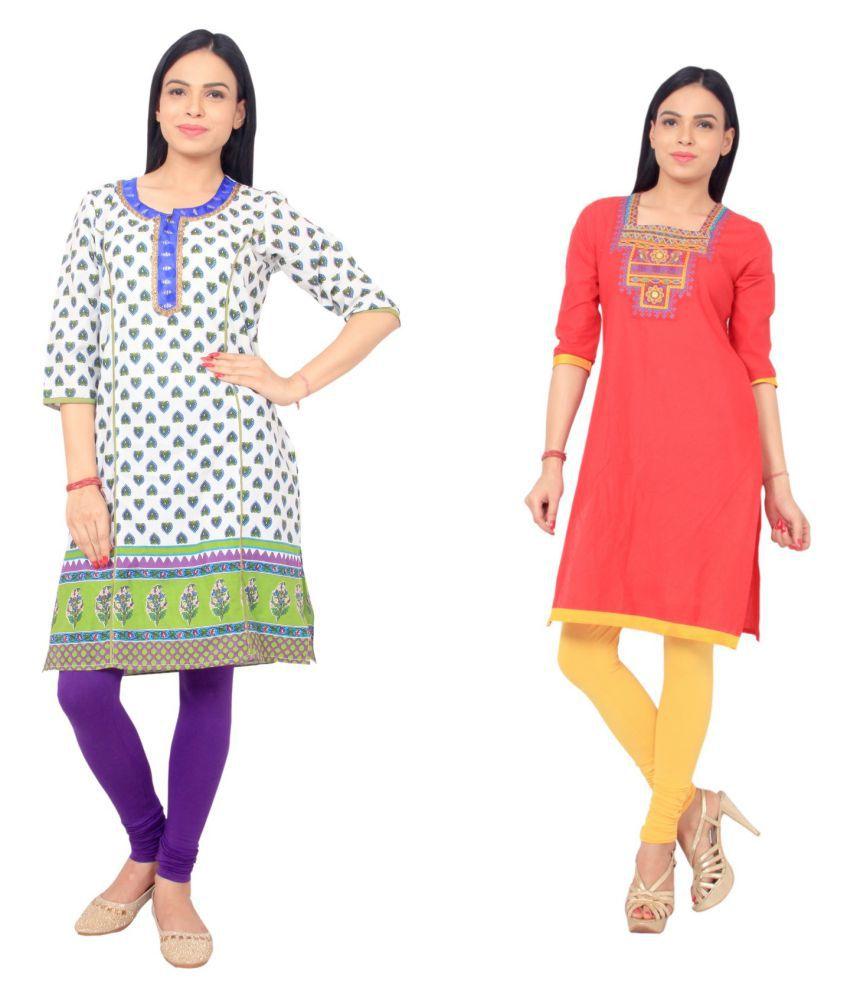 Rama Multicoloured Cotton Straight Kurti