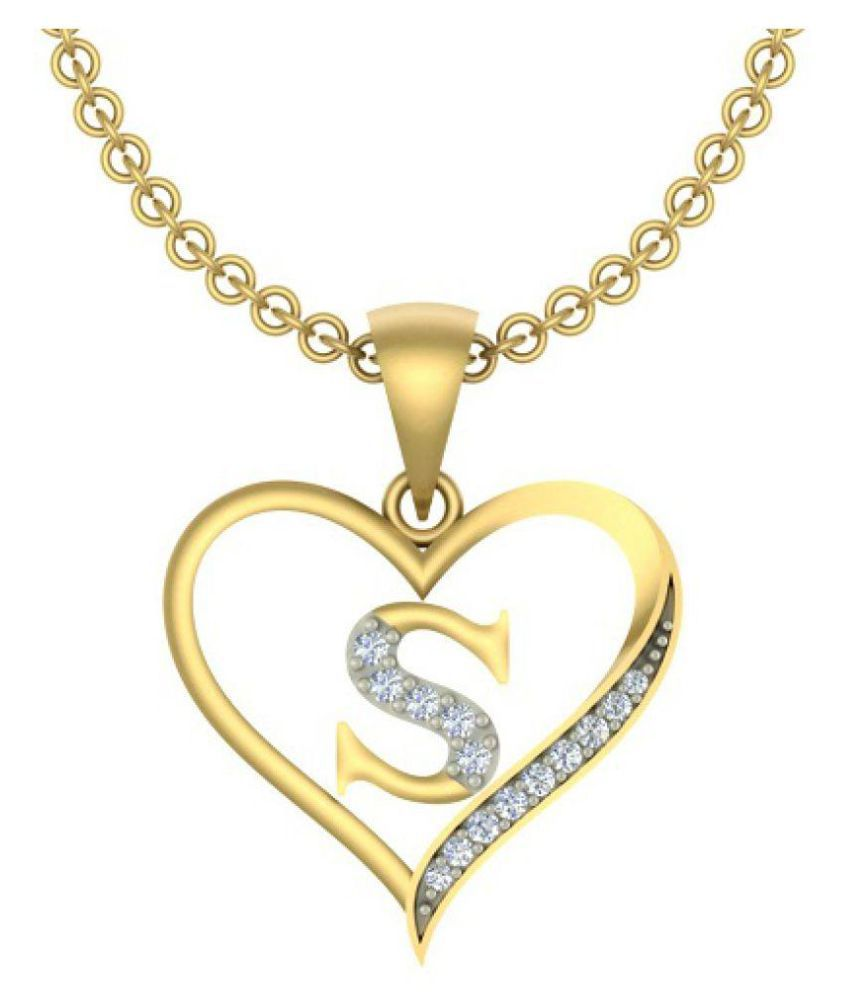 Kanak Jewels Initial Letter S In Heart Shaped Gold Cubic Zirconia Brass Pendant