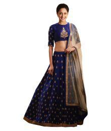 Greenvilla Designs Blue Bangalore Silk Sharara Semi Stitched Lehenga