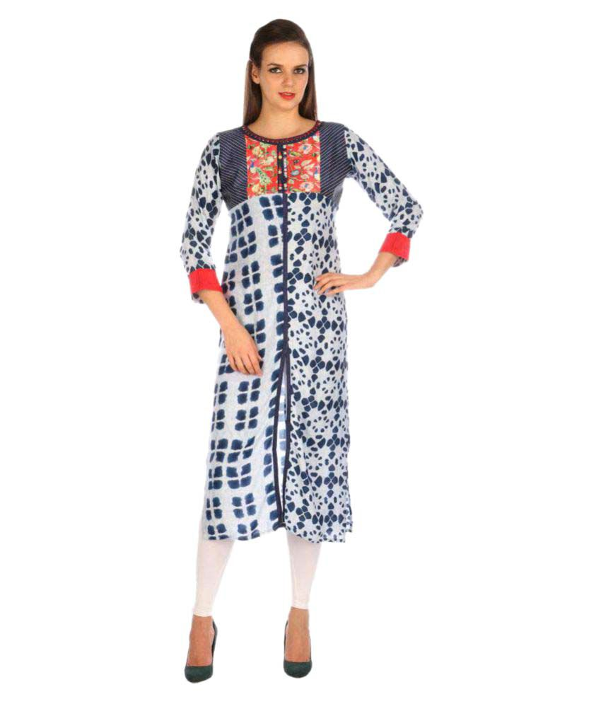 Shiloh Multicoloured Rayon Straight Kurti