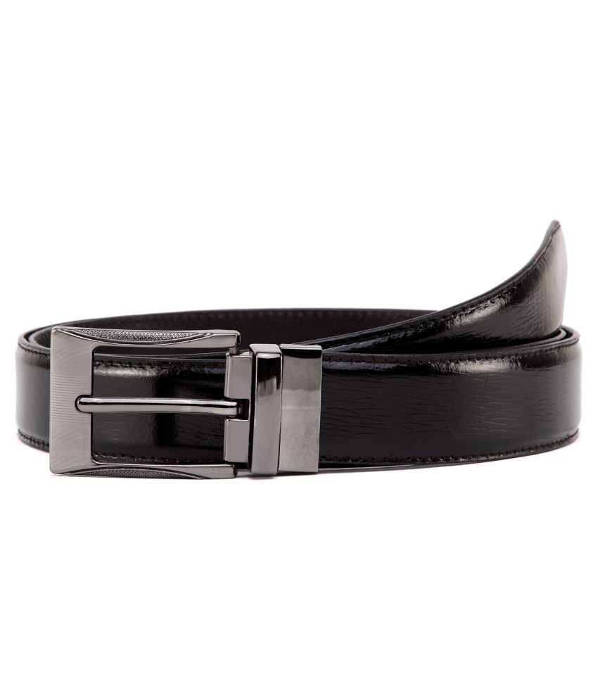 U+N Black Leather Casual Belts