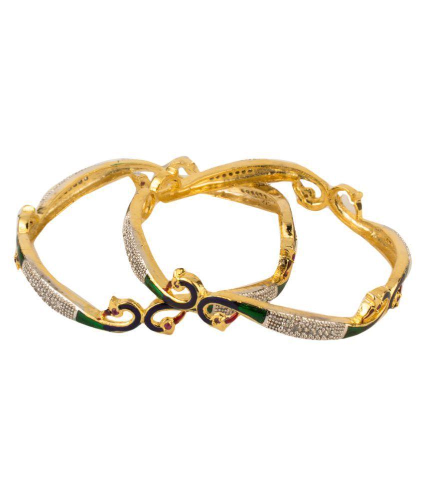 Zeneme Multicolor American Diamond Jewellery Gold Plated Bangles - Set of 2