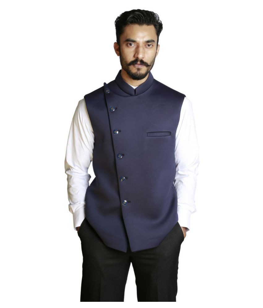 Fusion & Threads Navy Plain Casual Waistcoats