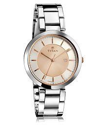 Titan2480KM01 Silver Analog Watch for Women