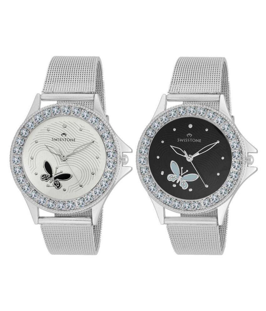 Swisstone Silver Analog Wrist Watch Pack of 2