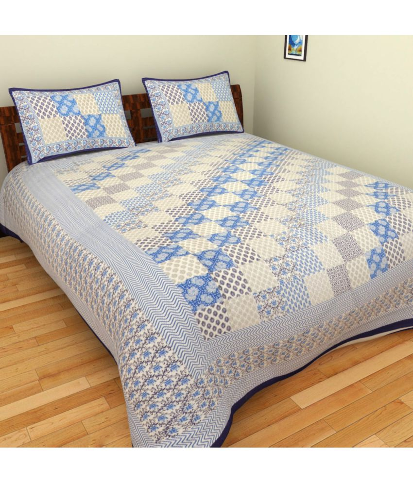 BleuIndus Double Cotton Multicolor Geometrical Bed Sheet
