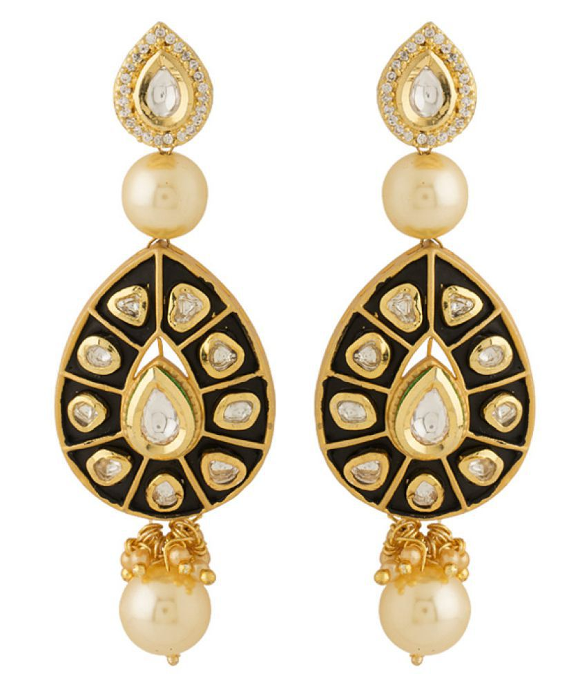 Voylla Gold Plated Kundan Hanging Earrings for Women