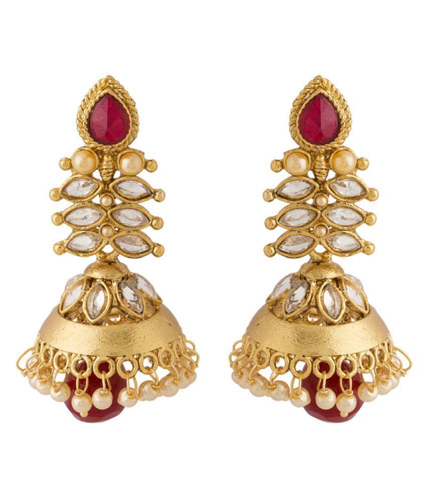 Voylla Golden Alloy Jhumki Earrings Single Pair
