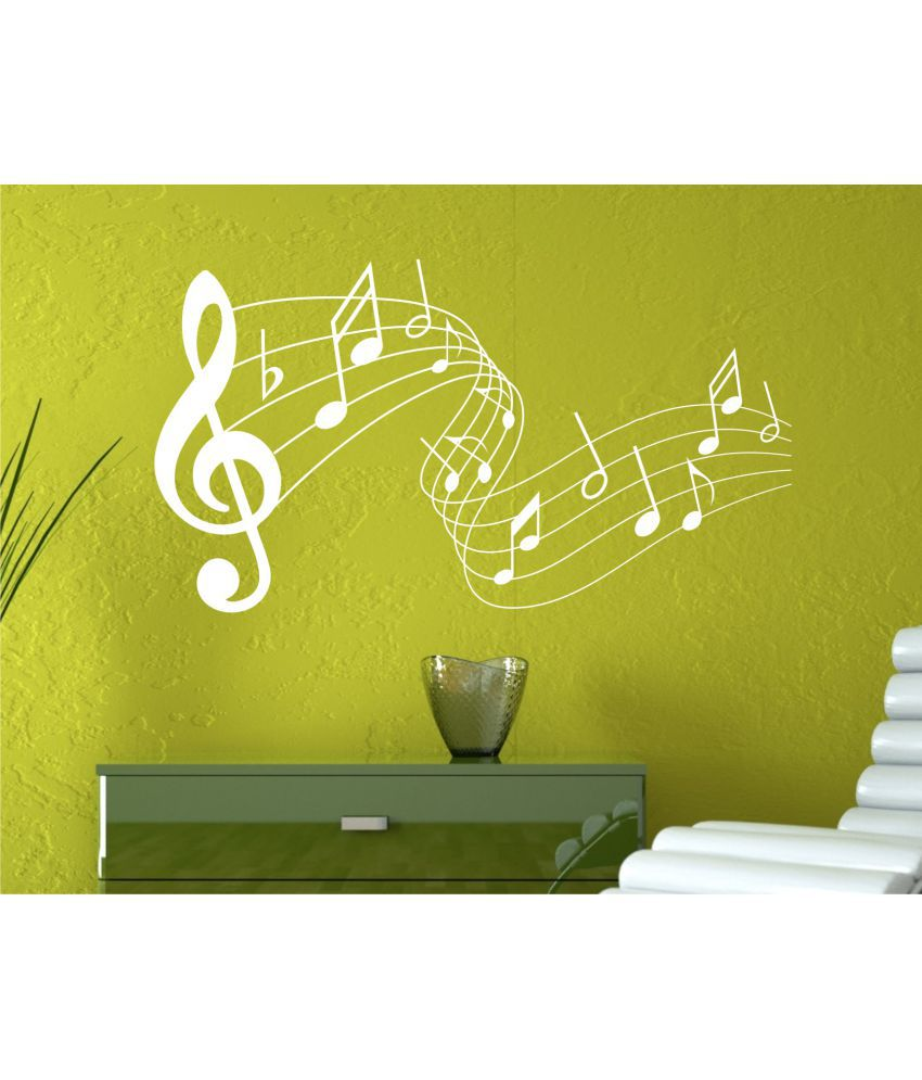 Wall Guru Musical Notes Clip art White Wall Decal&Sticker Vinyl Wall ...