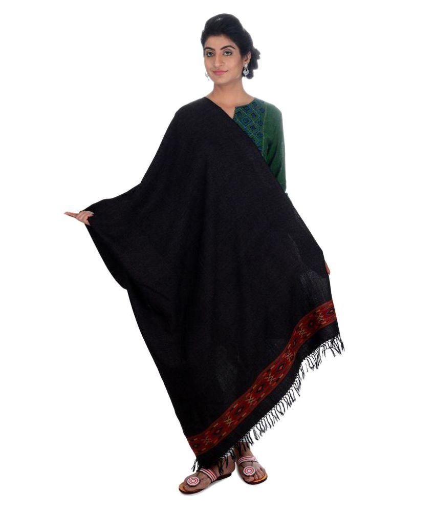 Tribes India Black Woven Shawl