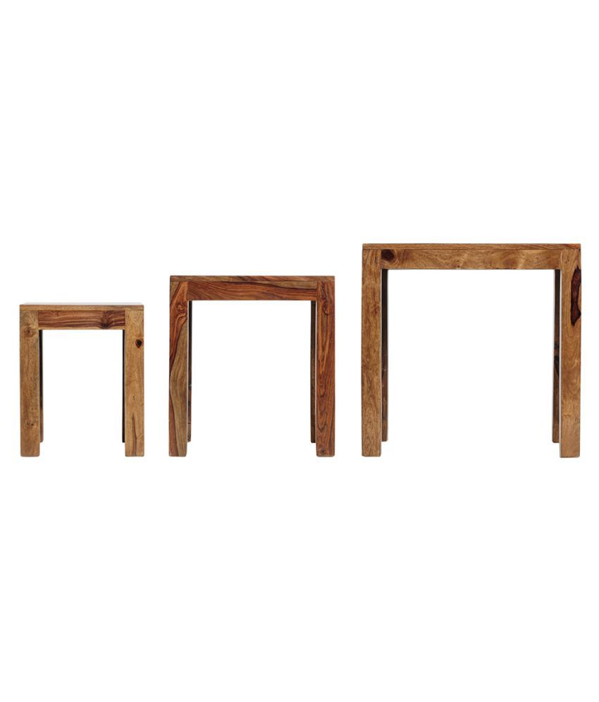 ... Inhouz Jali Solid Wood Nesting Tables   Teak ...