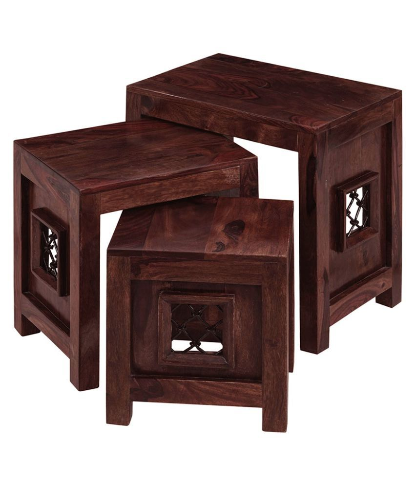 ... Inhouz Jali Solid Wood Nesting Tables   Mahogany ...
