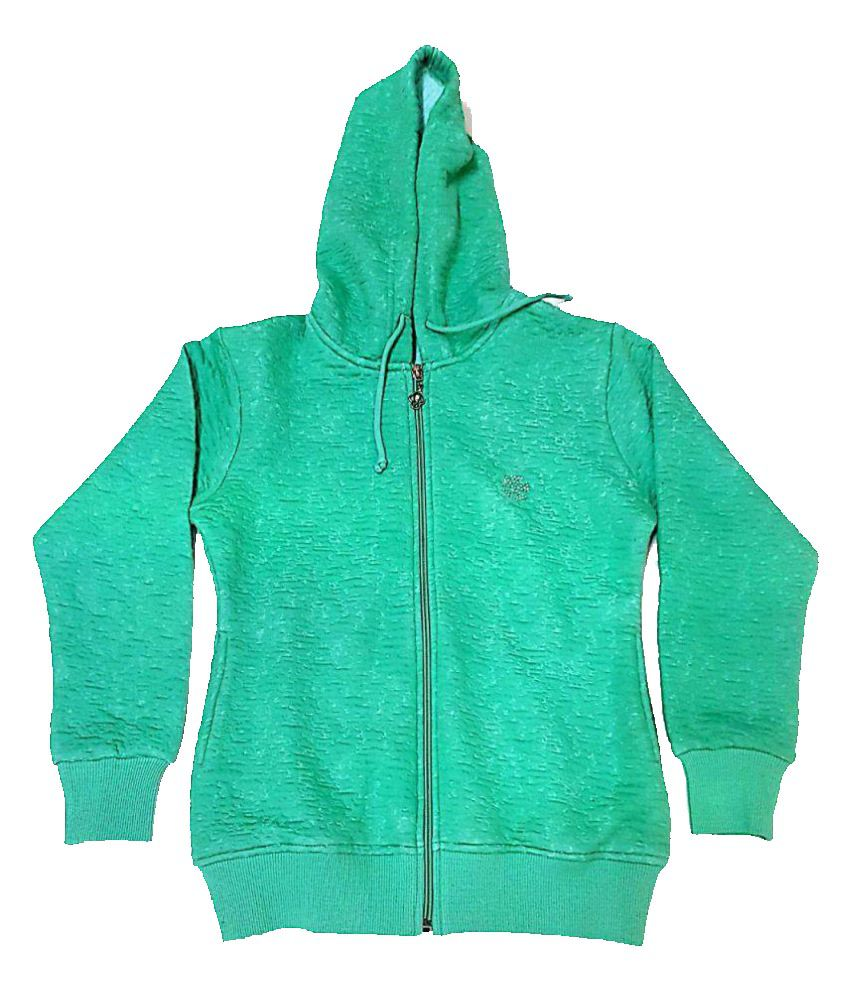 Cuddlezz Sea Green Front Open Sweatshirts