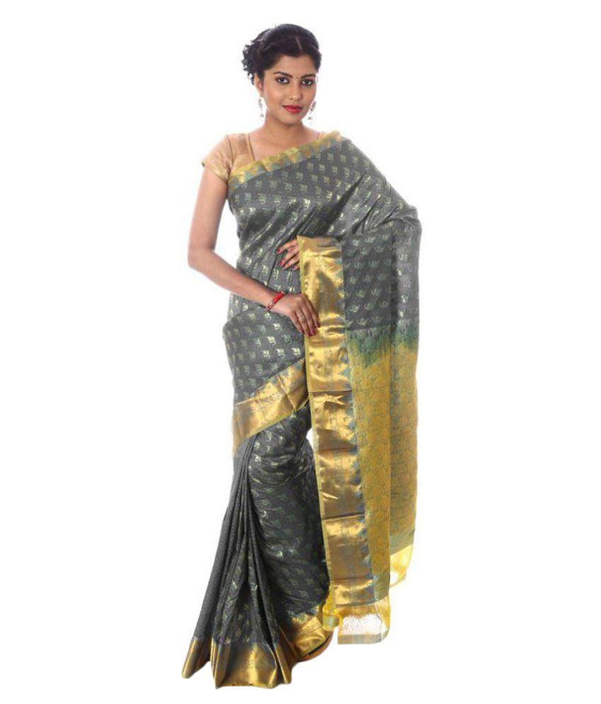 Mahaveer Designers Grey Kanchipuram Saree