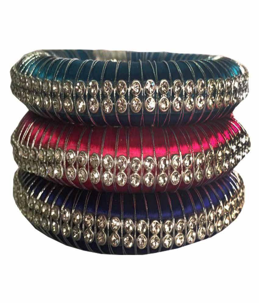 Kuhuk Multicolored Silk Thread Plastic Bangle - Set of 3