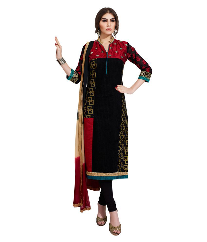 Payal BLACK Chanderi Straight Stitched Suit