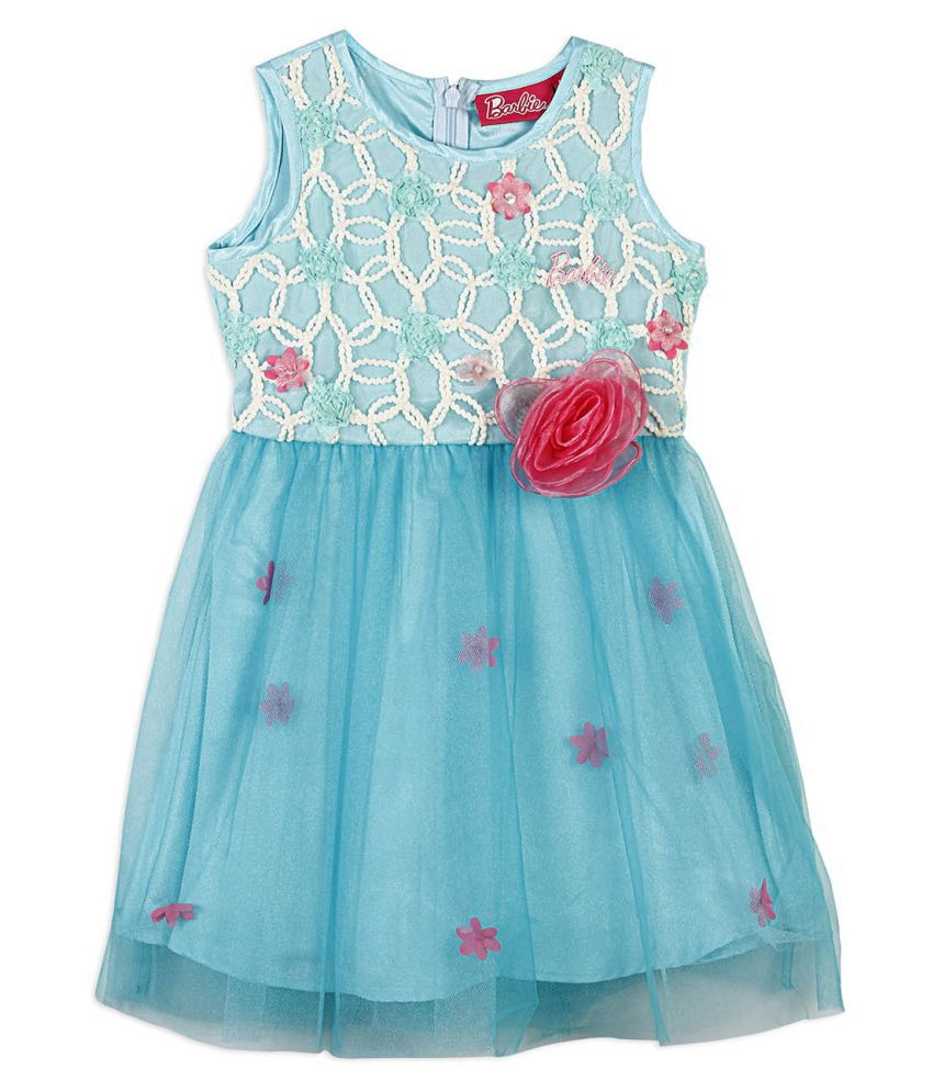 Barbie party dress in novelty embroidered fabric and flounced net ...